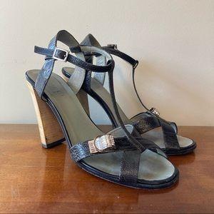 Gucci Silver Rhinestone Buckle Stacked Heels 9